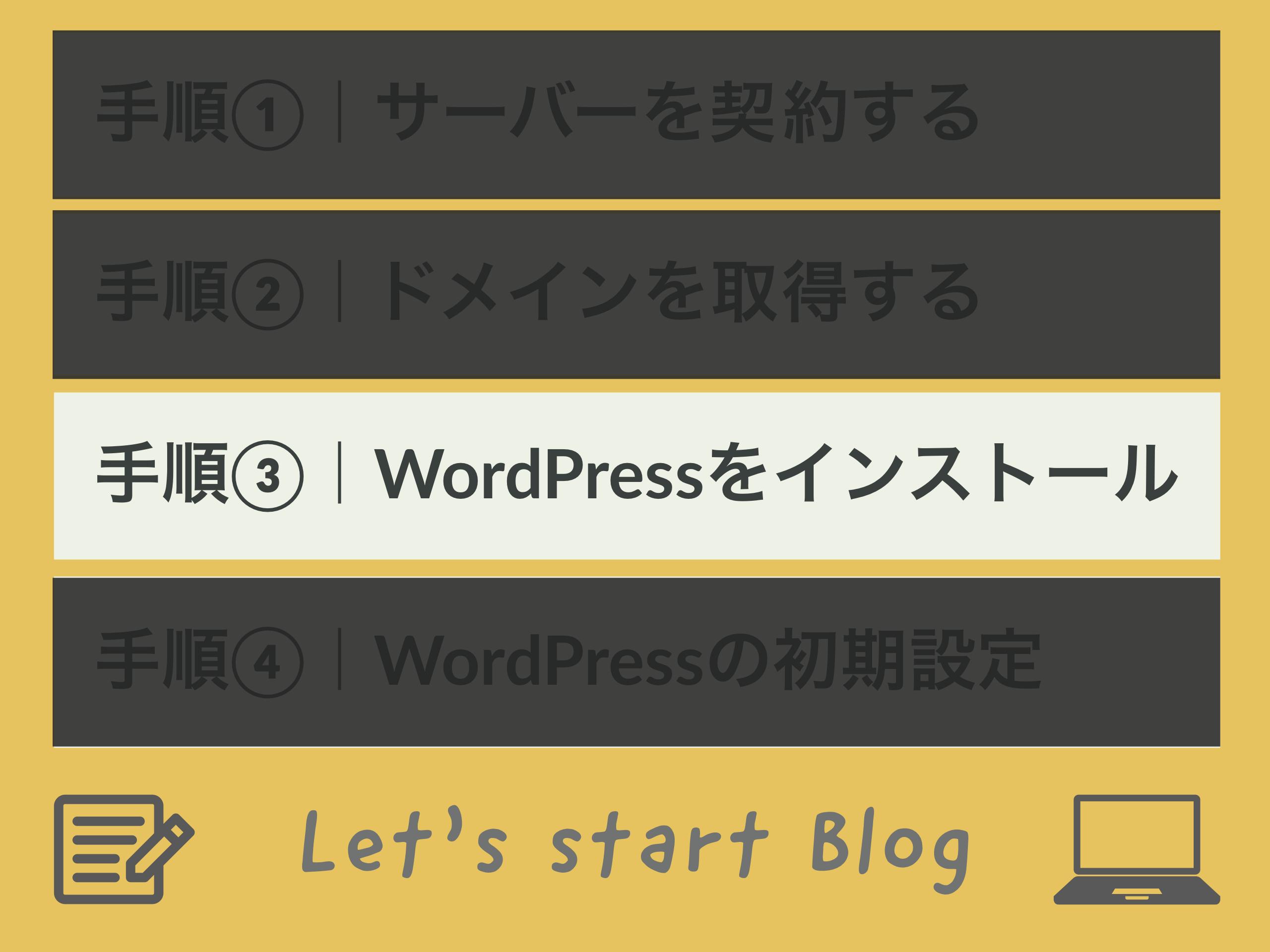 手順③|WorPressをインストール