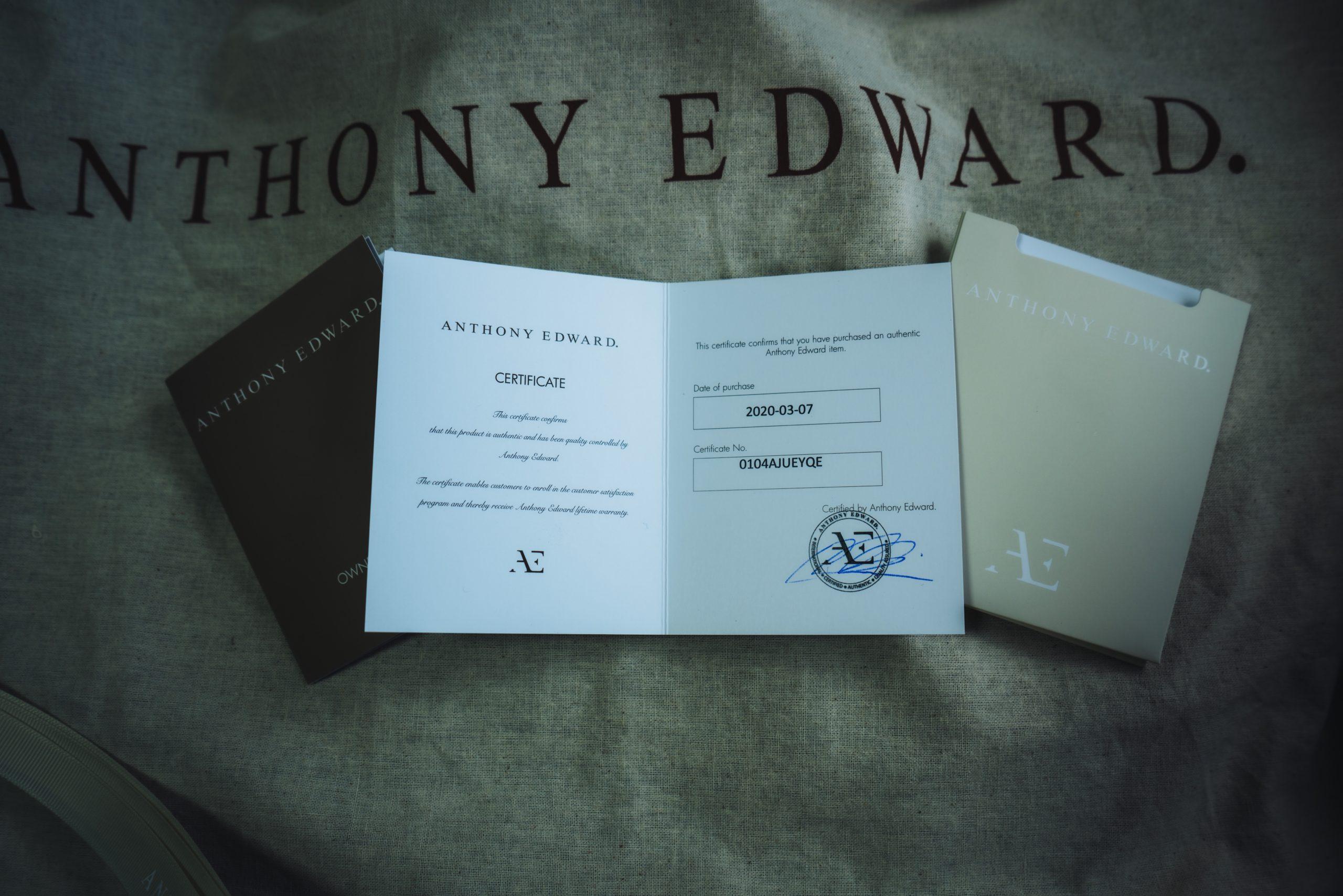 ANTHONY EDWARD 製品保証書