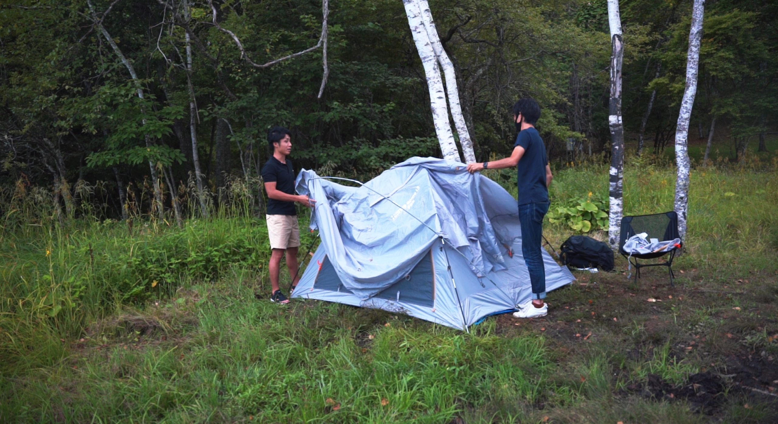 駒出池キャンプ場で念願の初キャンプ!|テント設営